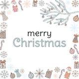 Feliz Navidad bandera La inscripción en el marco de Santa Clauses, ramas de árbol de navidad, regalos, dulces, copos de nieve, ca ilustración del vector