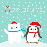 Feliz Navidad Bastón de caramelo Cachorro de oso blanco polar del pájaro del pingüino de Kawaii Fotos de archivo