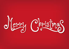 Feliz Navidad blanca con el fondo rojo Fotos de archivo libres de regalías