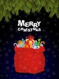 Feliz Navidad Bolso por completo de regalos Noche de la Navidad y Papá Noel R Foto de archivo