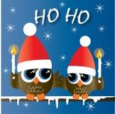 Feliz Navidad buenas fiestas dos búhos lindos stock de ilustración