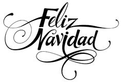 Feliz Navidad calligraphy. Vector version of my own calligraphy. Merry Christmas in Spanish Royalty Free Stock Photo