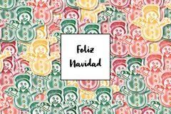 Feliz Navidad card Merry Christmas in spanish with colored snowman as a background stock illustration