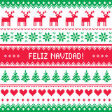 Feliz navidad card - scandynavian christmas pattern Royalty Free Stock Image