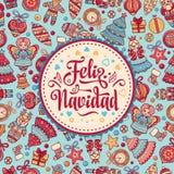 Feliz Navidad Cartão do Xmas na língua espanhola Fotos de Stock Royalty Free