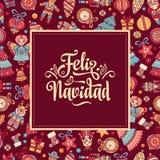 Feliz Navidad Carta di natale sulla lingua spagnola Immagine Stock