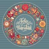 Feliz Navidad Carta di natale sulla lingua spagnola Riscaldi i desideri per le feste felici Fotografia Stock Libera da Diritti