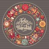Feliz Navidad Carta di natale sulla lingua spagnola Riscaldi i desideri per le feste felici Fotografia Stock