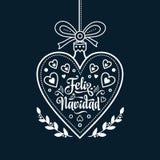 Feliz Navidad Carta di natale sulla lingua spagnola Riscaldi i desideri per le feste felici Fotografie Stock
