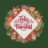 Feliz Navidad Carte de Noël sur la langue espagnole Image stock