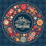 Feliz Navidad Carte de Noël sur la langue espagnole Chauffez les souhaits pour bonnes fêtes Image libre de droits