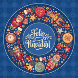 Feliz Navidad Carte de Noël sur la langue espagnole Chauffez les souhaits pour bonnes fêtes Photos stock
