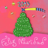 Feliz Navidad, child Christmas greeting card Royalty Free Stock Photo