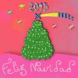 Feliz Navidad, child Christmas greeting card. Child Christmas Cards, with the text Feliz Navidad ,Merry Christmas in spanish language stock illustration