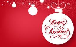 Feliz Navidad, cinta de la caligrafía, decoración, arte del papel de las bolas de la Navidad, arte digital, creativo mínimo de la libre illustration