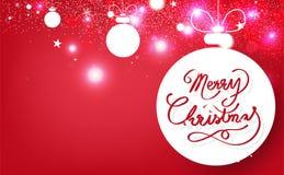 Feliz Navidad, cinta de la caligrafía, decoración, bolas de la Navidad con la celebración brillante de la chispa de la nieve de l stock de ilustración
