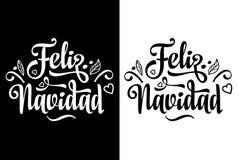 Feliz Navidad composition en lettrage de Joyeux Noël avec l'expression dans la langue espagnole illustration libre de droits