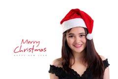 Feliz Navidad con la cara sonriente de la muchacha Fotos de archivo