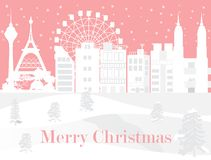 Feliz Navidad con la ciudad blanca y nevar, imagen del vector stock de ilustración