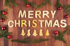 Feliz Navidad con la decoración de la Navidad Fotografía de archivo libre de regalías