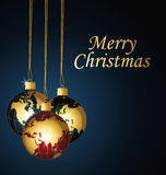 Feliz Navidad con las bolas de la Navidad de los planetas. Foto de archivo libre de regalías