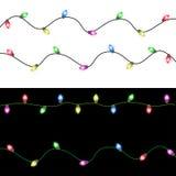 Feliz Navidad con las luces de la Navidad que brillan intensamente coloridas Foto de archivo libre de regalías