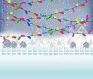 Feliz Navidad con las luces de la Navidad que brillan intensamente coloridas Fotografía de archivo libre de regalías