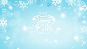 Feliz Navidad con las porciones de copos de nieve en fondo azul Fotografía de archivo