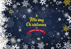 Feliz Navidad con las porciones de copos de nieve en fondo azul Foto de archivo libre de regalías