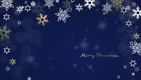 Feliz Navidad con las porciones de copos de nieve en fondo azul Foto de archivo