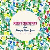 Feliz Navidad con los elementos de las decoraciones Imágenes de archivo libres de regalías