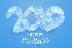 Feliz Navidad cortada 2019 del papel azul del vector Números cortados del papel arte de papel 3d con las sombras Moderno abstract ilustración del vector