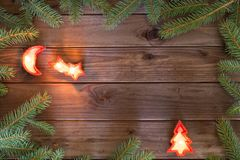 Feliz Navidad/días de fiesta decorativos y lugar para la inscripción Imagen de archivo libre de regalías