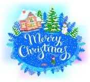 Feliz Navidad de la bandera redonda Imagen de archivo libre de regalías