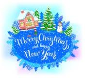 Feliz Navidad de la bandera redonda del Año Nuevo y Feliz Año Nuevo Imagenes de archivo