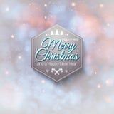 Feliz Navidad de la etiqueta tipográfica y Feliz Año Nuevo. Foto de archivo libre de regalías
