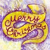 Feliz Navidad de la inscripción de la acuarela Letras, caligrafía, tarjeta del día de fiesta Fotografía de archivo