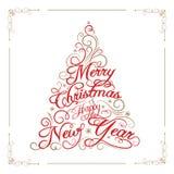 Feliz Navidad de la tarjeta de felicitación y Feliz Año Nuevo Imagen de archivo libre de regalías