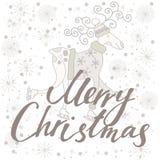 Feliz Navidad de la tarjeta del día de fiesta con los ciervos Fotografía de archivo
