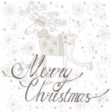 Feliz Navidad de la tarjeta del día de fiesta con los ciervos Fotos de archivo