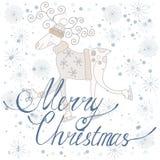 Feliz Navidad de la tarjeta del día de fiesta con los ciervos Foto de archivo libre de regalías
