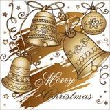Feliz Navidad de la tarjeta de felicitación con las campanas de la Navidad de oro libre illustration