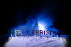 Feliz Navidad de las palabras en un campo de nieve, con el fondo oscuro con el árbol de los chrismas Concepto del Año Nuevo Espac fotos de archivo libres de regalías