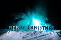Feliz Navidad de las palabras en un campo de nieve, con el fondo oscuro con el árbol de los chrismas Concepto del Año Nuevo Espac imagen de archivo