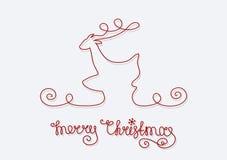 Feliz Navidad de los ciervos de la tarjeta Imagen de archivo