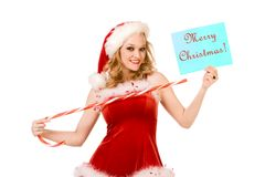 Feliz Navidad del contacto atractivo encima de señora Papá Noel Fotos de archivo