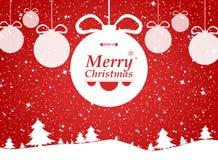 Feliz Navidad del fondo rojo en regalos del bosque y de las nieves fotos de archivo libres de regalías
