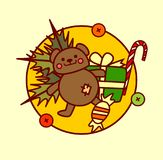 Feliz Navidad del icono lindo de los juguetes y colección dibujada mano de las vacaciones de invierno del concepto de la Feliz Añ stock de ilustración