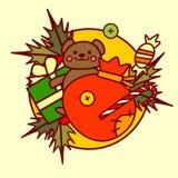 Feliz Navidad del icono lindo de los juguetes y colección dibujada mano de las vacaciones de invierno del concepto de la Feliz Añ ilustración del vector