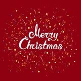 Feliz Navidad del texto con los fuegos artificiales Fotografía de archivo libre de regalías